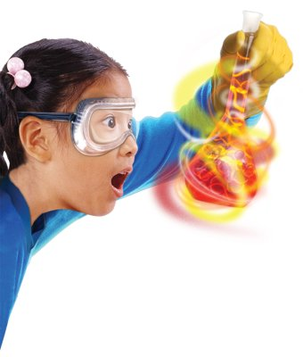 child doing science